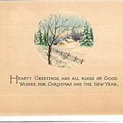 SALE 1918 Christmas & New Year Post Card ~ Gibson Art Co~ Snowy Cottage Scene