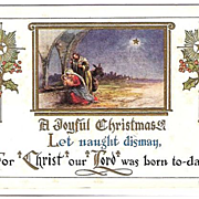 SALE 1915 Embossed Christmas Post Card ~ Nativity Scene
