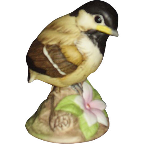 Andrea baby chickadee porcelain figurine with pink periwinkle flower from romancingthepast on - Chickadee figurine ...
