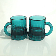 Pair of Heisey Glass Toothpick Holders in Teal Blue