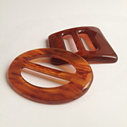 SALE Two Bakelite Buckles c1940-50s