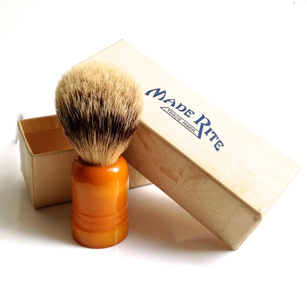 Bakelite Shaving Brush  Real Badger Hair & Original Box ~ Made in USA