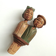 SOLD Anri Kissing Couple Hand Carved & Painted Bottle Cork