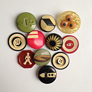 SOLD Ten Celluloid Buttons & One Bakelite Sailor! ~ Eleven c1930s -40s