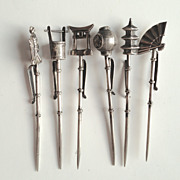 SOLD Sterling Silver Japanese Cocktail or Hors D'oeuvre Picks ~ Set of 6
