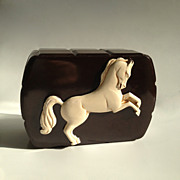 Bakelite Trinket Box with Applied Carved Celluloid Prancing Horse