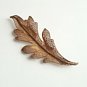 SOLD Gold Vermeil & Sterling Filigree Leaf Brooch by Topazio 925