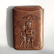 c 1890-1910 English Cigar Stogie Leather Case with Raised Characters