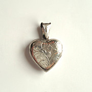 Sterling Silver 925 Engraved Puffed Heart Locket