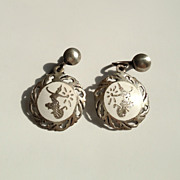 Siam Sterling Earrings with White Enamel