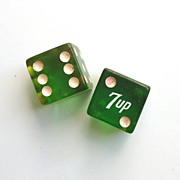 Bakelite Dice Transparent Green ~ 7 up