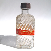 SOLD c1930s Poison / Medicine Bottle with Paper Label