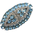 Wiesner Aquamarine Blue & Clear Rhinestone Duette Pin Clips