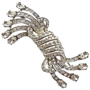 Eisenberg Original 1940's Sterling Silver Rhinestone Pin Brooch