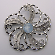 Sterling Silver Filigree Flower Pin Brooch Pendant With Blue Glass Stone