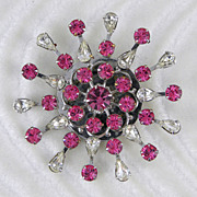 Pink & Clear Silvertone Rhinestone Pin Brooch