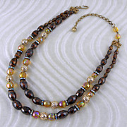 Hobe Rootbeer Brown & Yellow Double Strand Beaded Necklace
