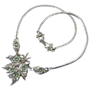 Hollycraft 1953 Floral Clear Rhinestone Necklace