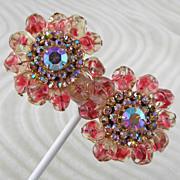 Large Round Pink Rhinestone & Beads Clip Earrings