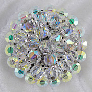 Brilliant Round Crystal Beads & Rhinestones Pin Brooch