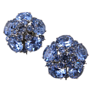Coro Light Sapphire Rhinestone Clip Earrings