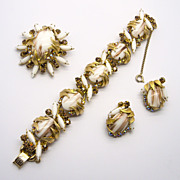 D & E Juliana Venus Flame Copper Fluss Rhinestone Parure Set