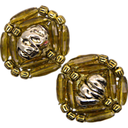Hobe Brown Beads Goldtone Clip Earrings