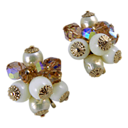 Vendome Beaded Clip Earrings With Crystals