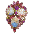 D & E Juliana Pink & Crystal A.B. Rhinestone Pin Brooch