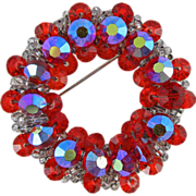 Hobe Red Crystal Wreath Pin Brooch