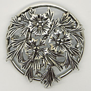 Judy Lee Floral Silvertone Pin Brooch