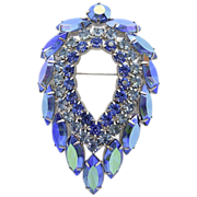 Sarah Coventry Blue Lagoon Rhinestone Pin Brooch
