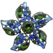 Regency Brilliant Green & Blue Rhinestone Flower Pin Brooch