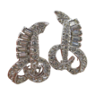 Albion Rhodium Plated Clear Rhinestone Clip Earrings