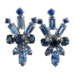Brilliant Blues Rhinestone Clip Earrings