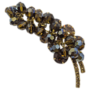 D & E Juliana Dark Brown & Topaz Dangling Beads Brooch Pin