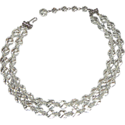 Hattie Carnegie 2 Strand Crystal Beads Necklace