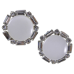 Coro White Moonglow Clear Rhinestones Clip Earrings