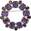 Early Pot Metal Wreath Pin Brooch with Purple Rhinestones