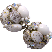 Hobe White & Gold Colored Clip-on Beaded Earrings
