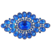 Art Deco Blue Rhinestone Pot Metal Pin Brooch