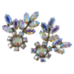 Sherman Flashy Clear A.B. Floral Rhinestone Clip Earrings