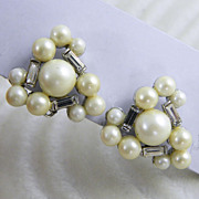 Marvella Faux Pearl & Clear Rhinestones Clip Earrings