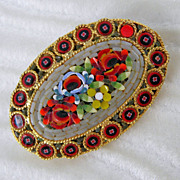 Floral Italian Micro Mosaic Pin Brooch