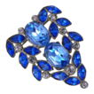 Shades of Blue Rhinestone Pot Metal Pin Brooch