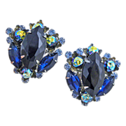 Judy Lee Blue & Black Rhinestone Art Glass Clip Earrings