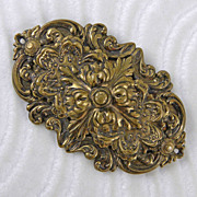 Large Ornate Brass Sash Pin Brooch