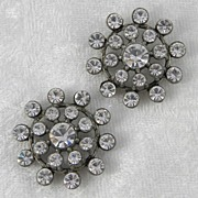 SOLD Set of 2 Clear Rhinestone & Pot Metal Buttons - Red Tag Sale Item