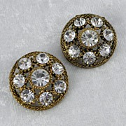 SOLD Set of 2 Goldtone Round Buttons with Clear Rhinestones - Red Tag Sale Item