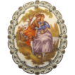Western Germany Victorian Couple Sugared Cameo Pin Brooch